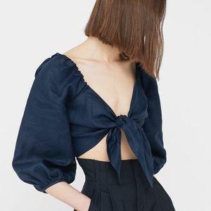 Mango navy linen tie front crop top blouse XS
